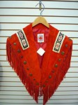 Red Suede Fringe Shawl