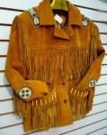 Womens Gold Suede Fringe Jacket