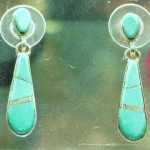 Pendants D'Oreilles à turquoise, argent sterling, 3.8 cm