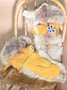 Traditional Ojibway handbeaded gauntlets