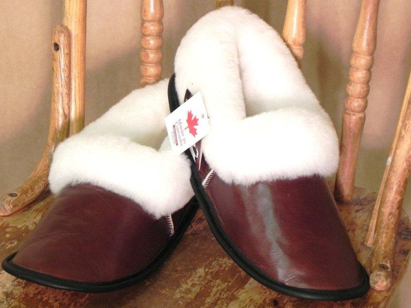 Warm, sheepskind slipper made in Canada