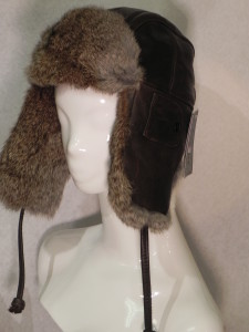 Leather Aviator Hat, Rabbit Fur Trim