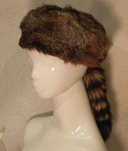 Davey Crocket Fur Hat, Rabbit with Racoon Tail